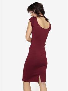 Vínové pouzdrové šaty s kulatým výstřihem ZOOT