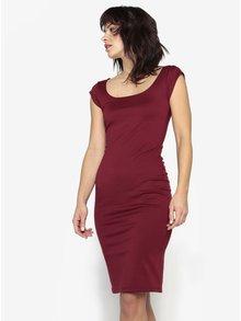 Vínové puzdrové šaty s okrúhlym výstrihom ZOOT