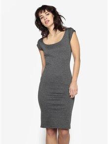 Sivé melírované puzdrové šaty s okrúhlym výstrihom ZOOT