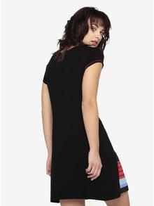 Rochie neagra cu fusta plisata in dungi Desigual Evaristo