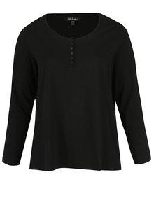 Čierne tričko s dlhým rukávom a gombíkmi Ulla Popken