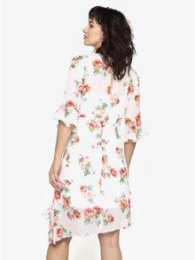 Bílé asymetrické květované šaty s volány Miss Selfridge
