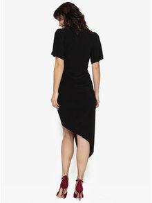 Čierne asymetrické šaty s krátkym rukávom Miss Selfridge