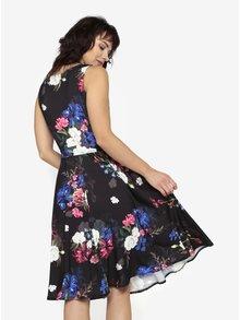 Rochie neagra cu print floral si decolteu drapat  Billie & Blossom