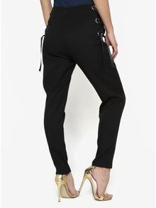 Pantaloni negri cu panglici decorative laterale - MISSGUIDED