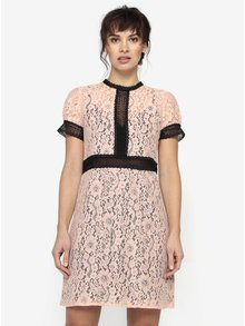 Svetloružové čipkované šaty s priesvitnými detailmi Little Mistress