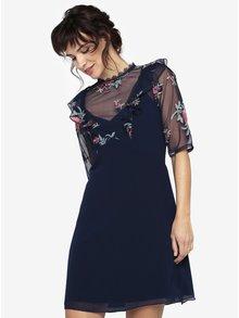 Tmavě modré šaty s průsvitným sedlem a volány Little Mistress