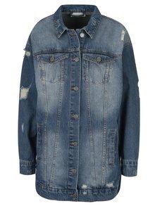 Jacheta albastra din denim cu aspect prespalat si uzat - Noisy May Angie