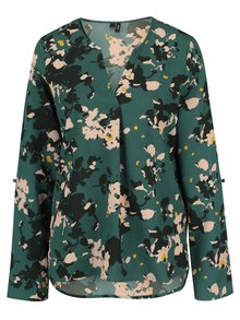 Bluza asimetrica verde inchis cu print floral - VERO MODA Bali