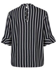 Bluza bleumarin cu dungi crem si volane la maneci - VERO MODA Nicky