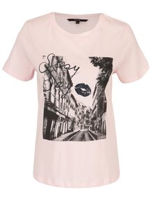 Světle růžové tričko s potiskem VERO MODA Nelik
