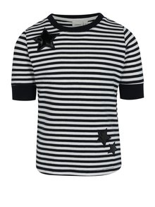 Bielo-modré dievčenské pruhované tričko s nášivkami name it Jannali