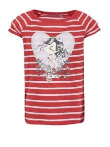 Bílo-červené pruhované holčičí tričko s potiskem Bóboli