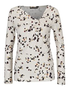 Bluza crem cu print abstract si nod decorativ Pietro Filipi