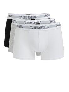Súprava troch boxeriek v čiernej, sivej a bielej farbe Diesel