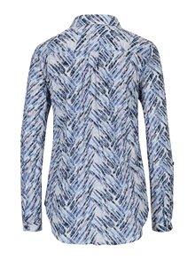 Krémovo-modrá vzorovaná košeľa s pokrčeným efektom Yest