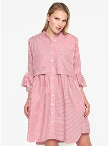Rochie oversized rosie cu dungi crem si buzunare - French Connection Summer