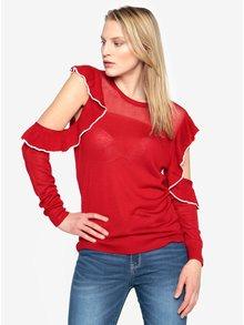 Červený sveter s prestrihmi na ramenách a volánmi French Connection Lois