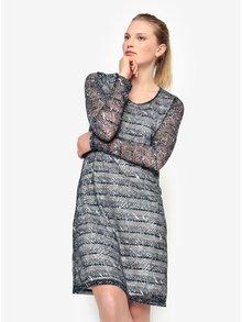 Modré vzorované šaty s dlhým rukávom Yest