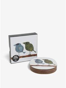 Sada čtyř bílých podtácků s motivem ptačí rodiny Family of Birds Coffee Coasters