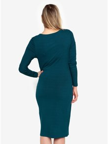 Petrolejové šaty s dlouhým rukávem Selected Femme Acies