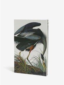 Biely zápisník s motívom žeriava Magpie Heron