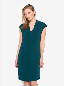 Petrolejové šaty s véčkovým výstrihom Selected Femme Ninna