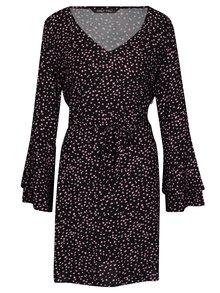 Čierne vzorované šaty so zvonovými rukávmi ONLY Anika