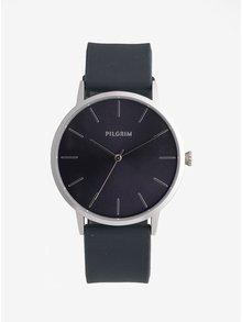 Pozlátené hodinky s tmavosivým silikónovým remienkom Pilgrim Aurelia