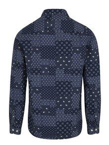 Tmavomodrá vzorovaná košeľa s náprsným vreckom