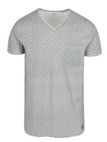 Čierno-biele vzorované tričko s véčkovým výstrihom Lindbergh