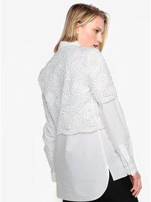 Bílá krajková košile s dlouhým rukávem French Connection Southside