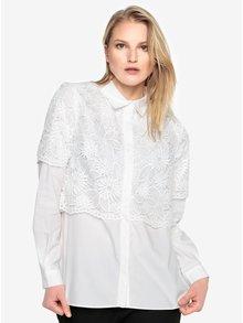 Biela čipkovaná košeľa s dlhým rukávom French Connection Southside