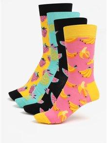 Súprava štyroch párov dámskych vzorovaných ponožiek v žltej a ružovej farbe Happy Socks Fruit