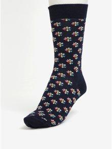 Tmavomodré dámske ponožky s motívom kvetín Happy Socks Mini Flower