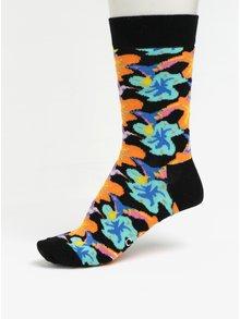 Oranžovo-červené unisex kvetované ponožky Happy Socks Hummingbird