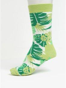 Zelené dámske ponožky s motívom listov Happy Socks Jungle