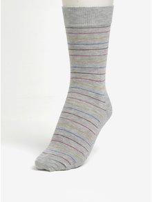 Šedé pruhované unisex ponožky Happy Socks Thin Stripe