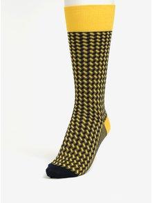 Modro-žlté vysoké vzorované unisex ponožky Happy Socks Dressed Basket Weave