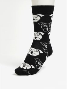 Černé dámské ponožky s motivem psů Happy Socks Dog