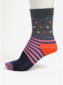 Modro-šedé dětské vzorované ponožky Happy Socks Stripes & Dots