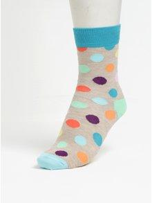 Zeleno-béžové detské bodkované ponožky Happy Socks Big Dot