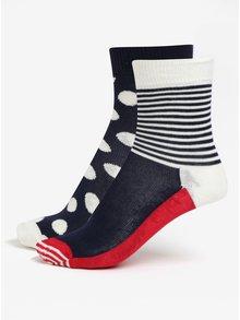 Červeno-modré dětské ponožky s puntíky a pruhy Happy Socks Big Dot