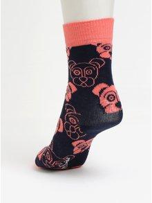 Tmavomodré detské ponožky s motívom psov Happy Socks Dog