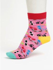 Růžové dětské ponožky s motivem brýlí Happy Socks Shades