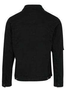 Jacheta neagra din denim cu aspect decolorat  Shine Original