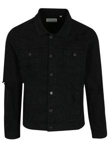 Jacheta neagra din denim cu aspect uzat  Shine Original