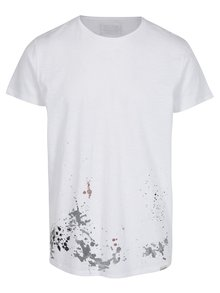Tricou alb cu mesaj si efect de picaturi de vopsea -  Shine Original