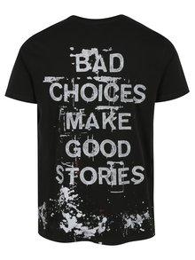 Tricou negru cu mesaj si efect de picaturi de vopsea -  Shine Original