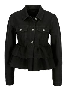 Jacheta neagra din denim cu volane ONLY Stela